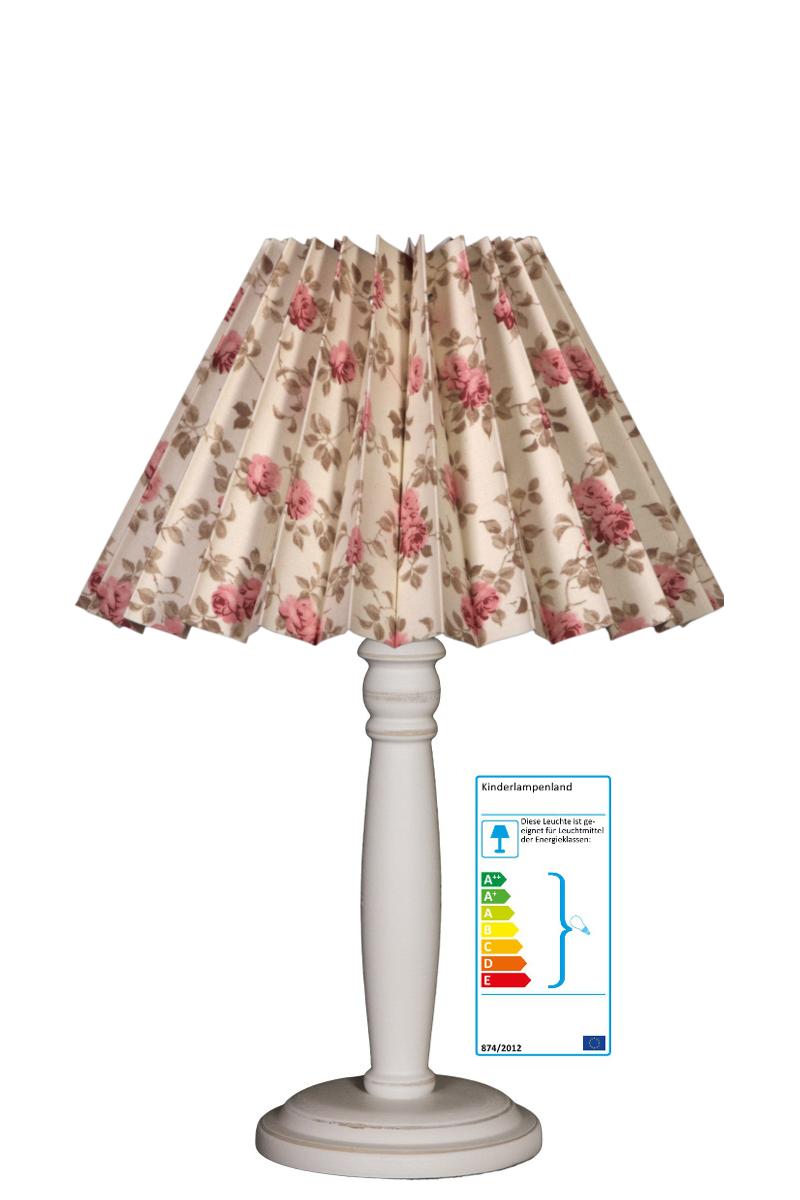 tischlampe plisseeschirm vintage blumen rosa tischleuchten. Black Bedroom Furniture Sets. Home Design Ideas