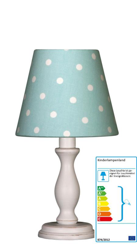 tischlampe tupfen t rkis wei klein tischlampen im. Black Bedroom Furniture Sets. Home Design Ideas