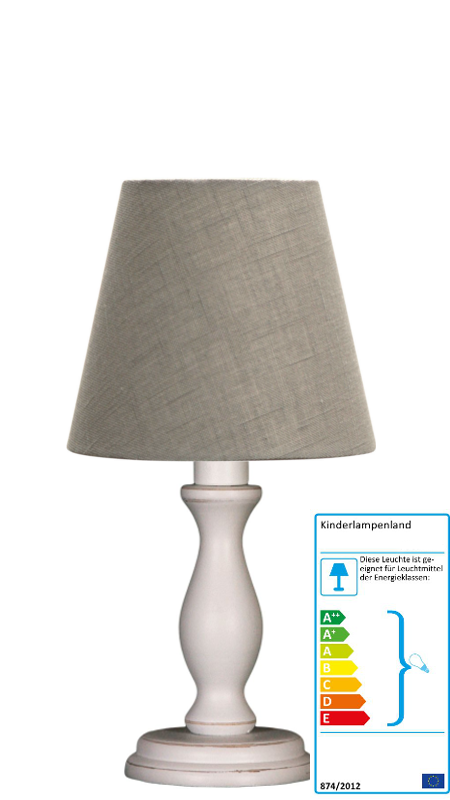 tischlampe leinen grau klein neu im kinderlampenland kaufen. Black Bedroom Furniture Sets. Home Design Ideas