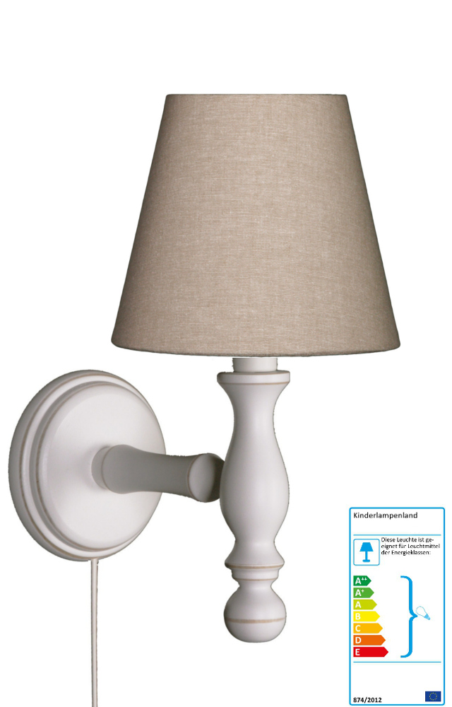 wandlampe beige wandleuchten im kinderlampenland kaufen. Black Bedroom Furniture Sets. Home Design Ideas