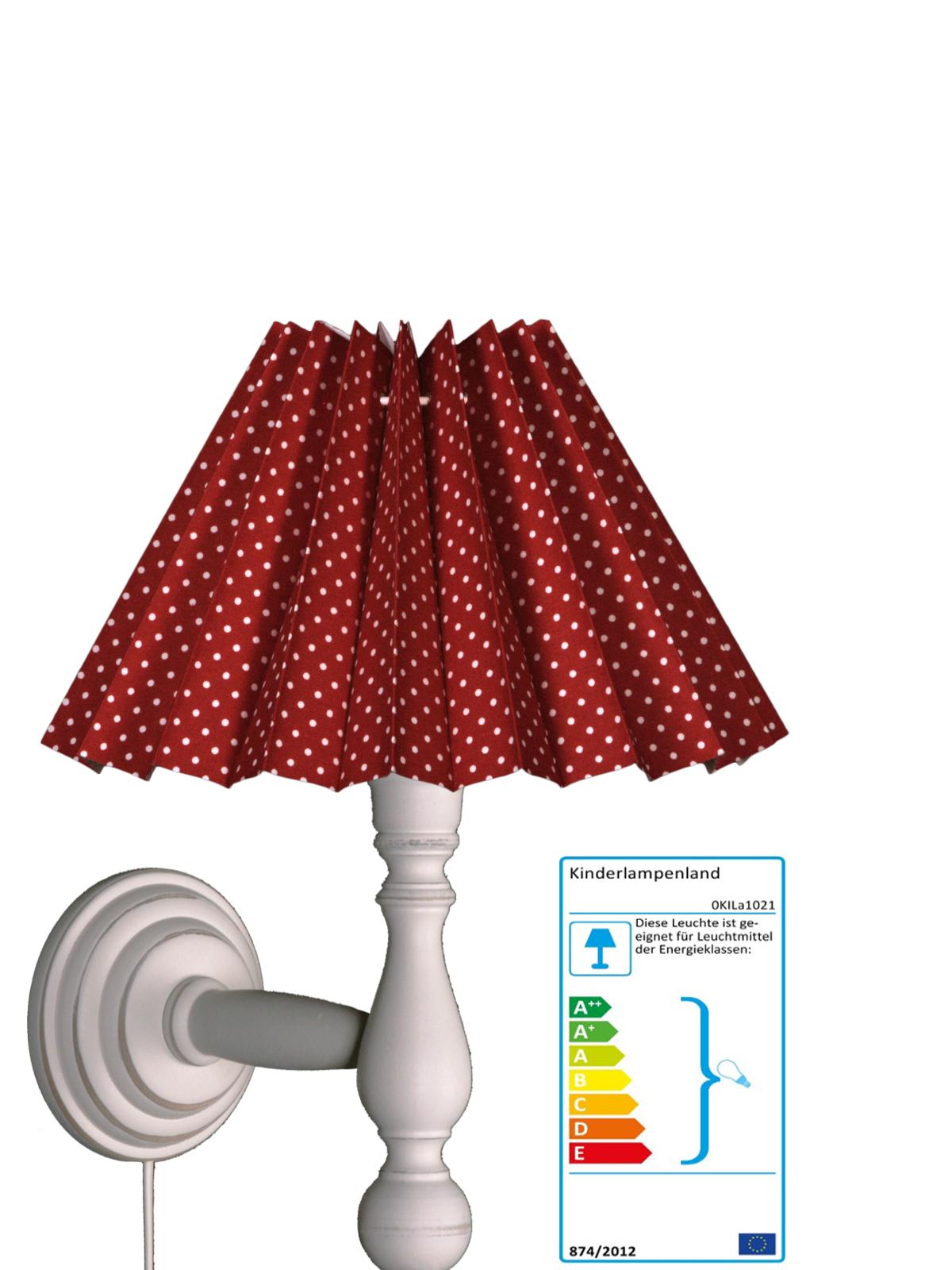 wandlampe plisseeschirm tupfen rot wei wandlampen im kinderlampenland kaufen. Black Bedroom Furniture Sets. Home Design Ideas