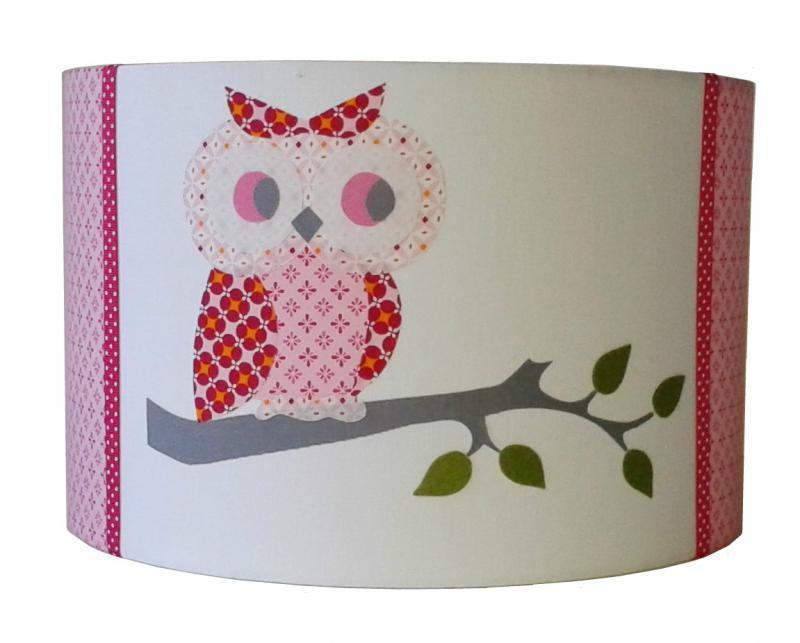 h ngelampe eule rosa rot pendelleuchten mit stoff bezogen. Black Bedroom Furniture Sets. Home Design Ideas