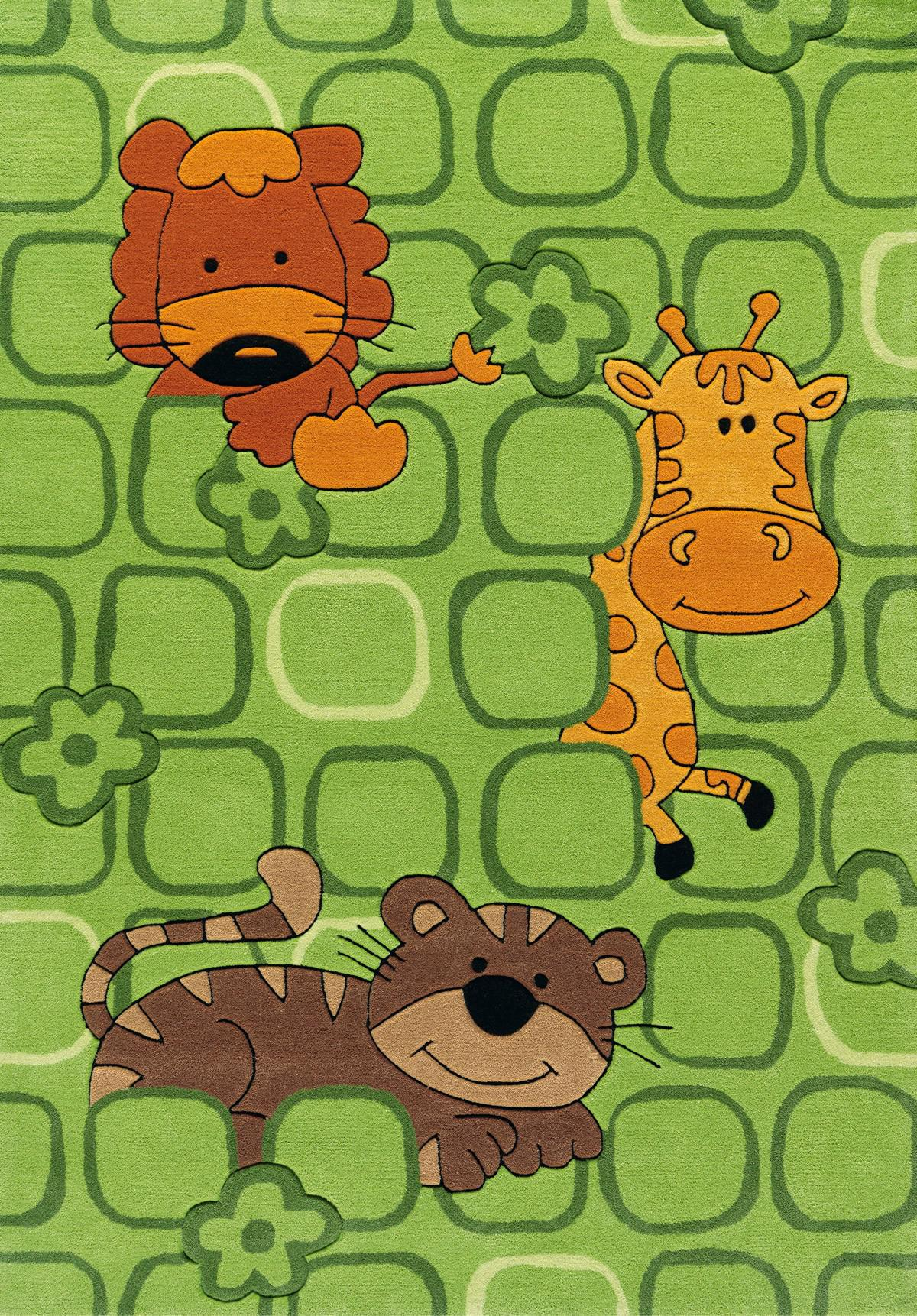 Kinderteppich grün  Arte Espina Kinderteppich Zootiere grün | kinderlampenland.de