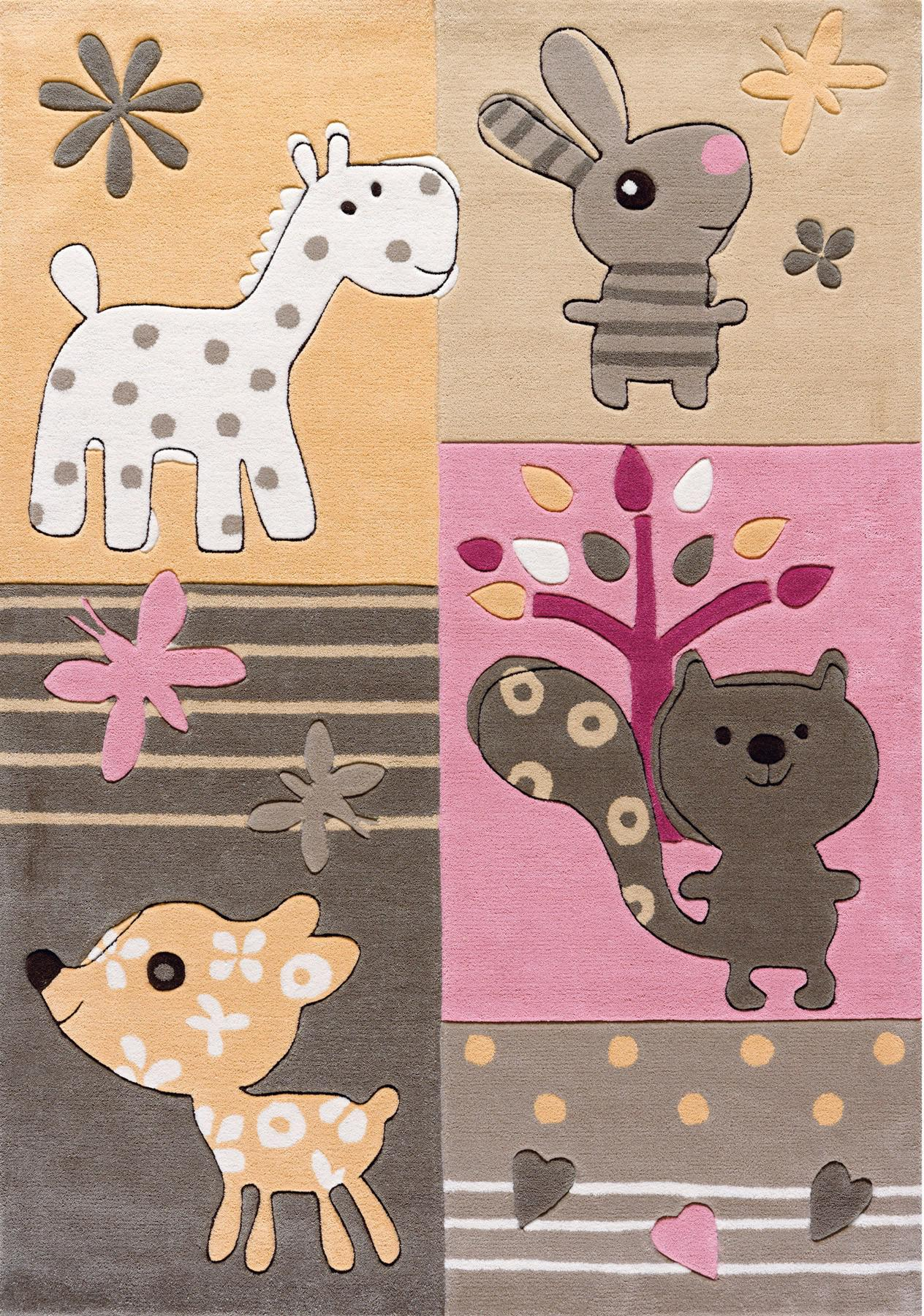 Arte Espina Teppich Tiere rosabeige  kinderlampenlandde