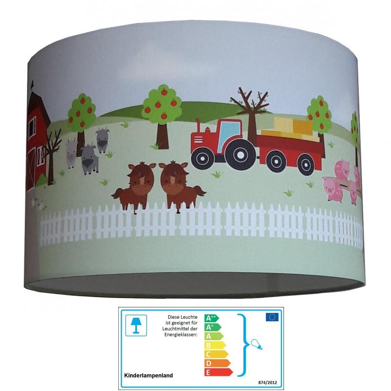 Kinderzimmerlampe bauernhof traktor bauernhoftiere for Traktor lampe kinderzimmer