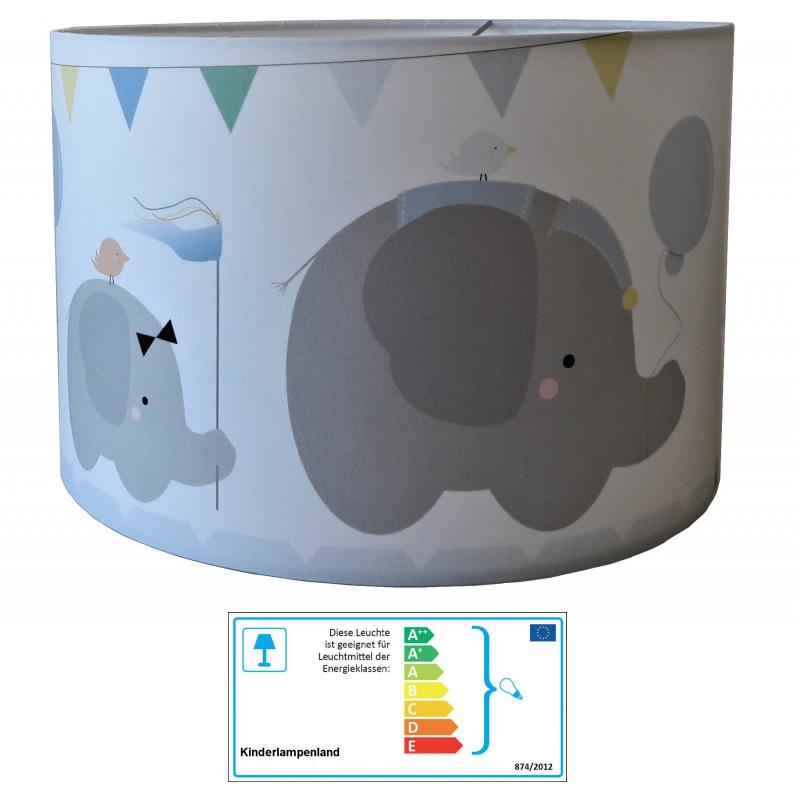 Kinderzimmer Lampe | Kinderzimmerlampe Elefant Blau Pendelleuchten Mit Stoff Bezogen Im