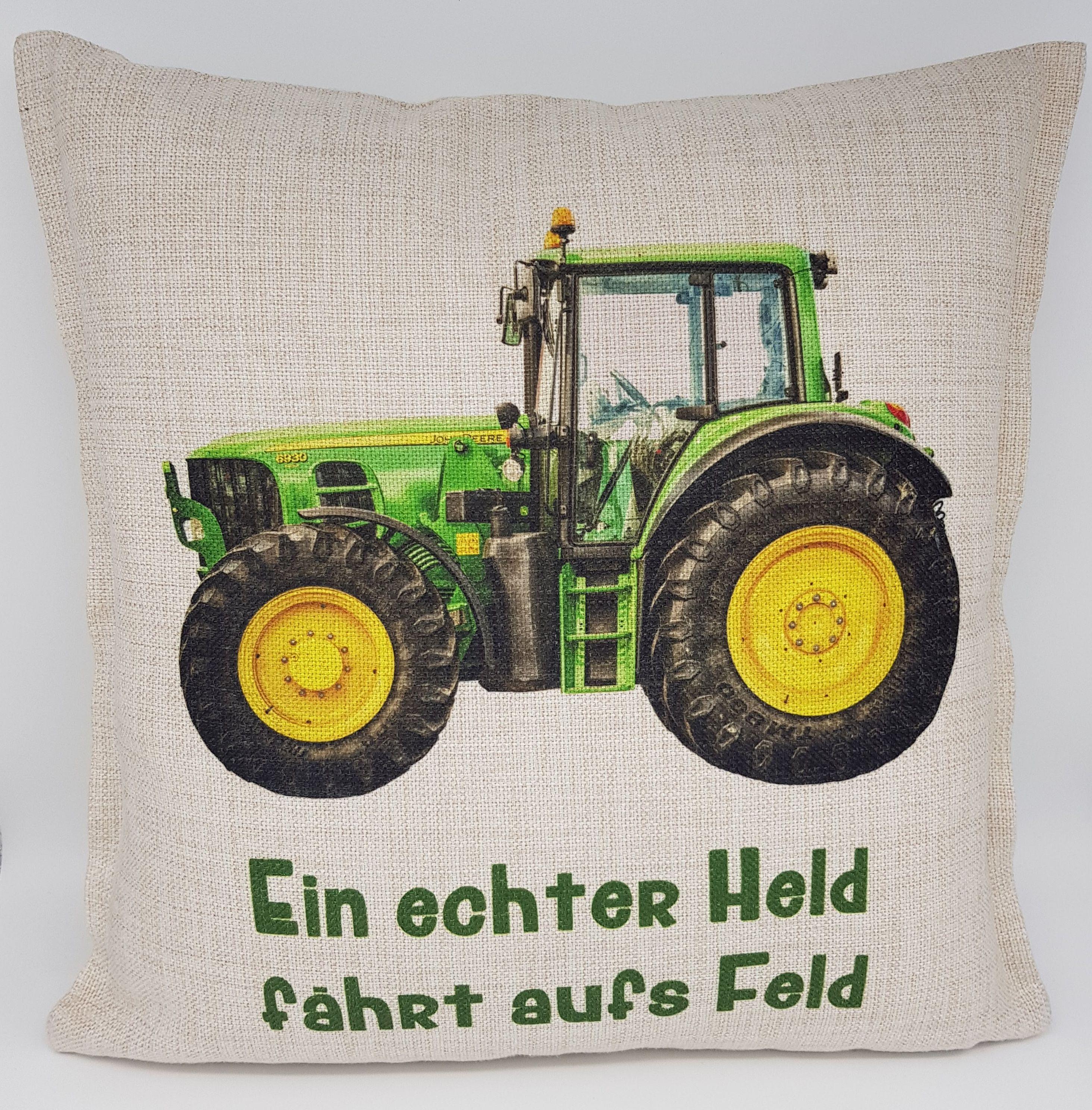 kissen traktor john deere gr n kuschelkissen im. Black Bedroom Furniture Sets. Home Design Ideas