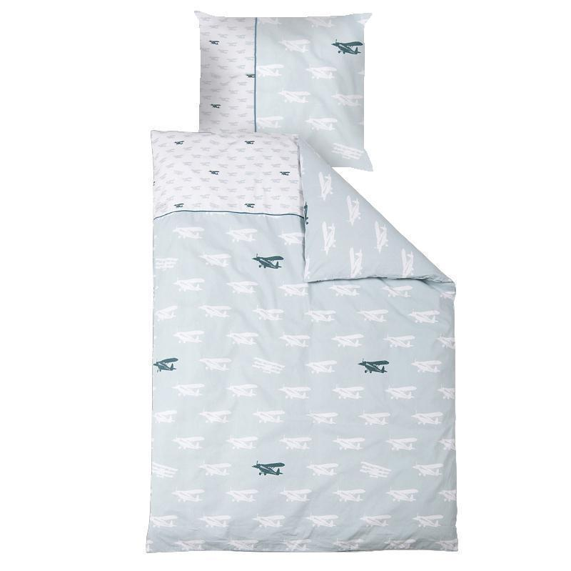 little dutch kinderbettw sche flugzeug mint wei flugzeug mint im kinderlampenland. Black Bedroom Furniture Sets. Home Design Ideas