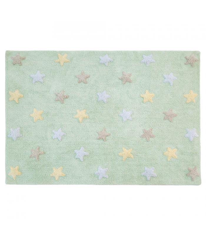 Kinderteppich sterne  Lorena Canals Kinderteppich Sterne Tricolor Soft Mint | waschbare ...