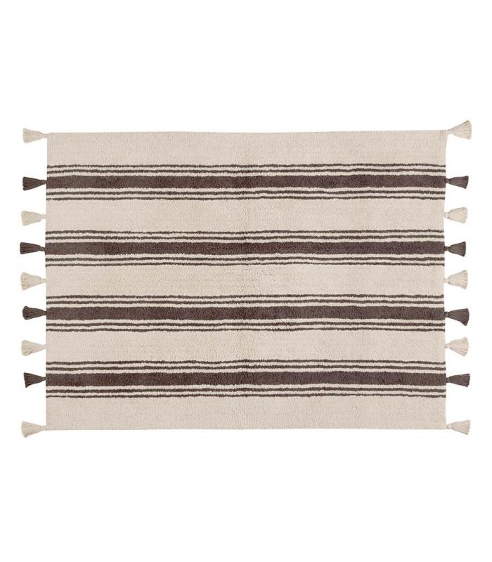 lorena canals teppich streifen grau braun waschbare. Black Bedroom Furniture Sets. Home Design Ideas
