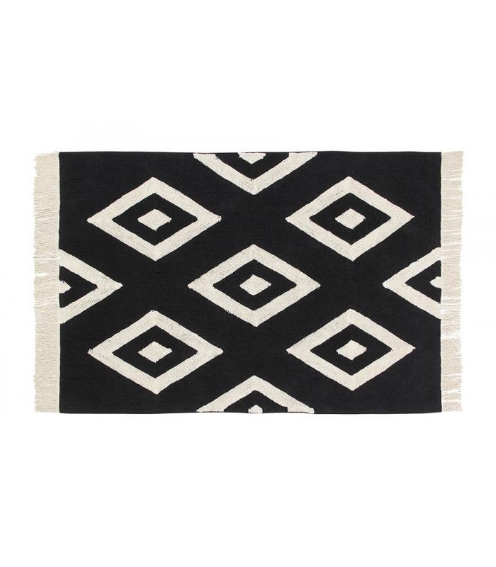 Lorena Canals Teppich Diamonds schwarzweiß  waschbare