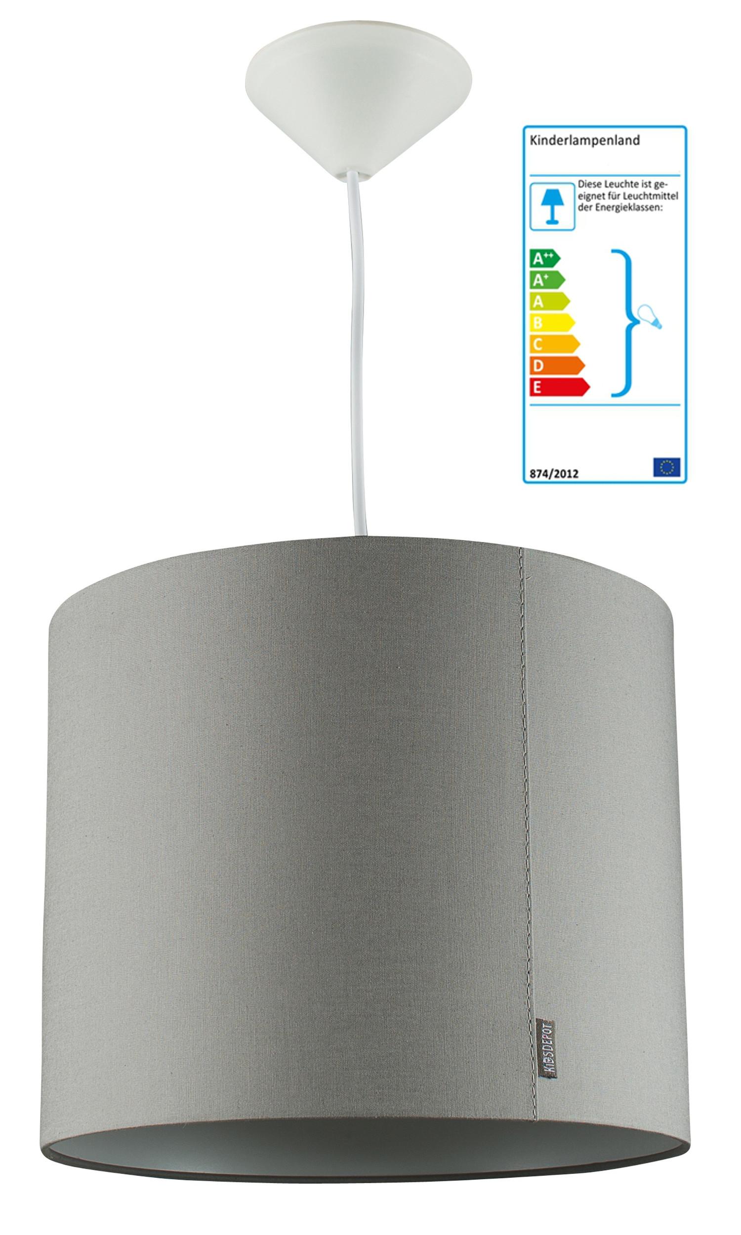 pendelleuchte wieber grau pendelleuchten mit stoff bezogen im kinderlampenland. Black Bedroom Furniture Sets. Home Design Ideas