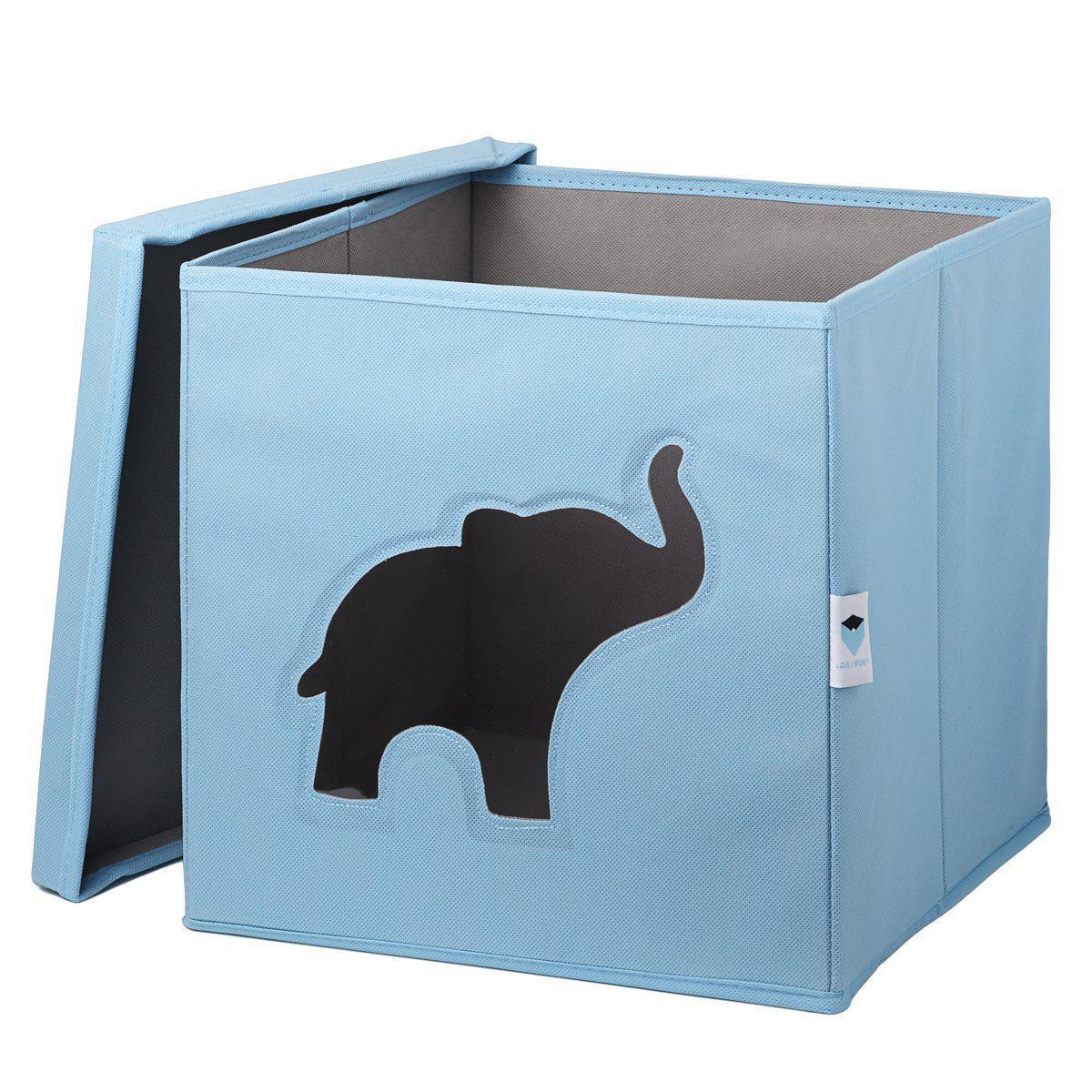spielzeugkiste elefant hellblau grau ordnung im kinderzimmer im kinderlampenland. Black Bedroom Furniture Sets. Home Design Ideas