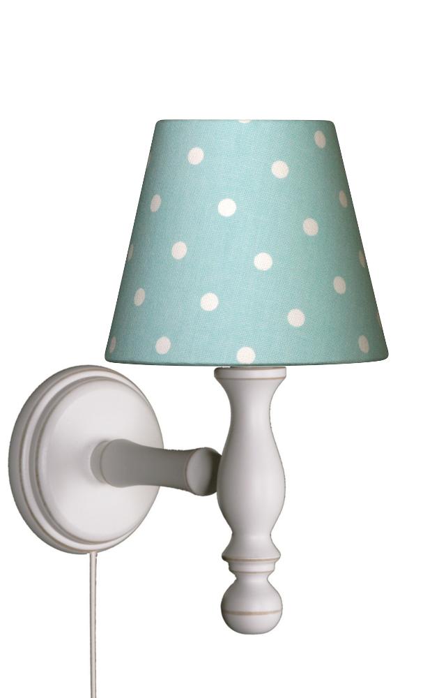 wandlampe tupfen t rkis wei wandlampen im kinderlampenland kaufen. Black Bedroom Furniture Sets. Home Design Ideas