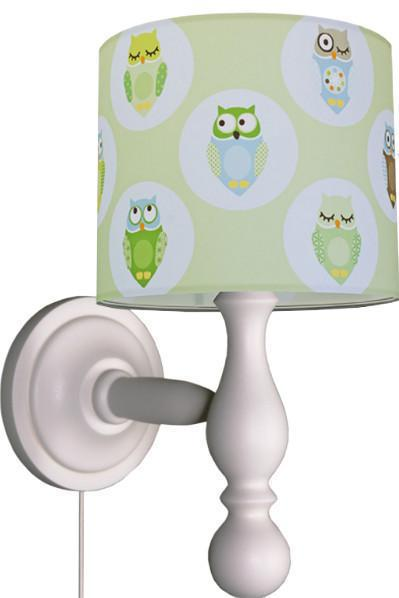 anna wand wandleuchte eulen gr n wandlampen im kinderlampenland kaufen. Black Bedroom Furniture Sets. Home Design Ideas