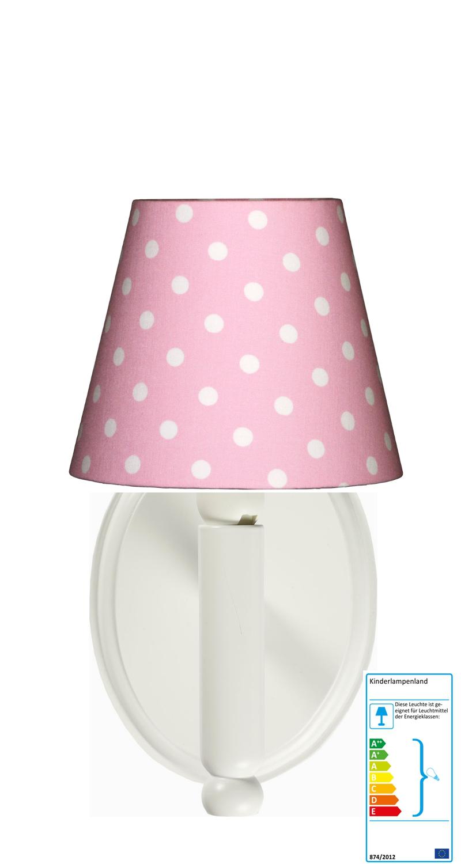 wandleuchte tupfen rosa weiss wandlampen im kinderlampenland kaufen. Black Bedroom Furniture Sets. Home Design Ideas