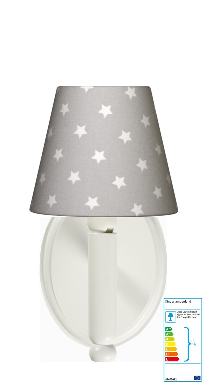 wandleuchte stern grau weiss wandlampen im kinderlampenland kaufen. Black Bedroom Furniture Sets. Home Design Ideas