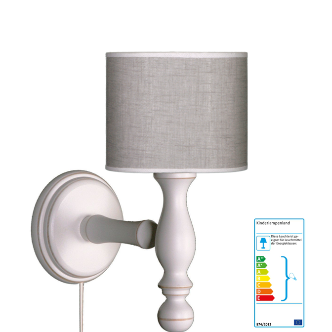 wandlampe grau wei wandleuchten im kinderlampenland kaufen. Black Bedroom Furniture Sets. Home Design Ideas