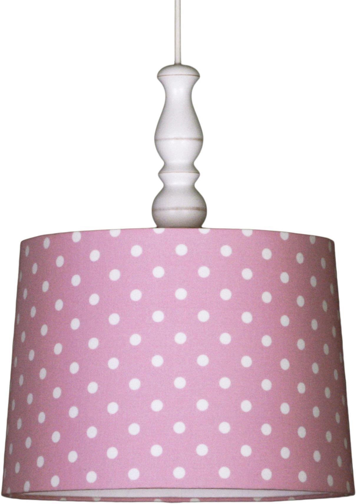 pendellampe tupfen rosa wei pendelleuchten mit stoff bezogen. Black Bedroom Furniture Sets. Home Design Ideas