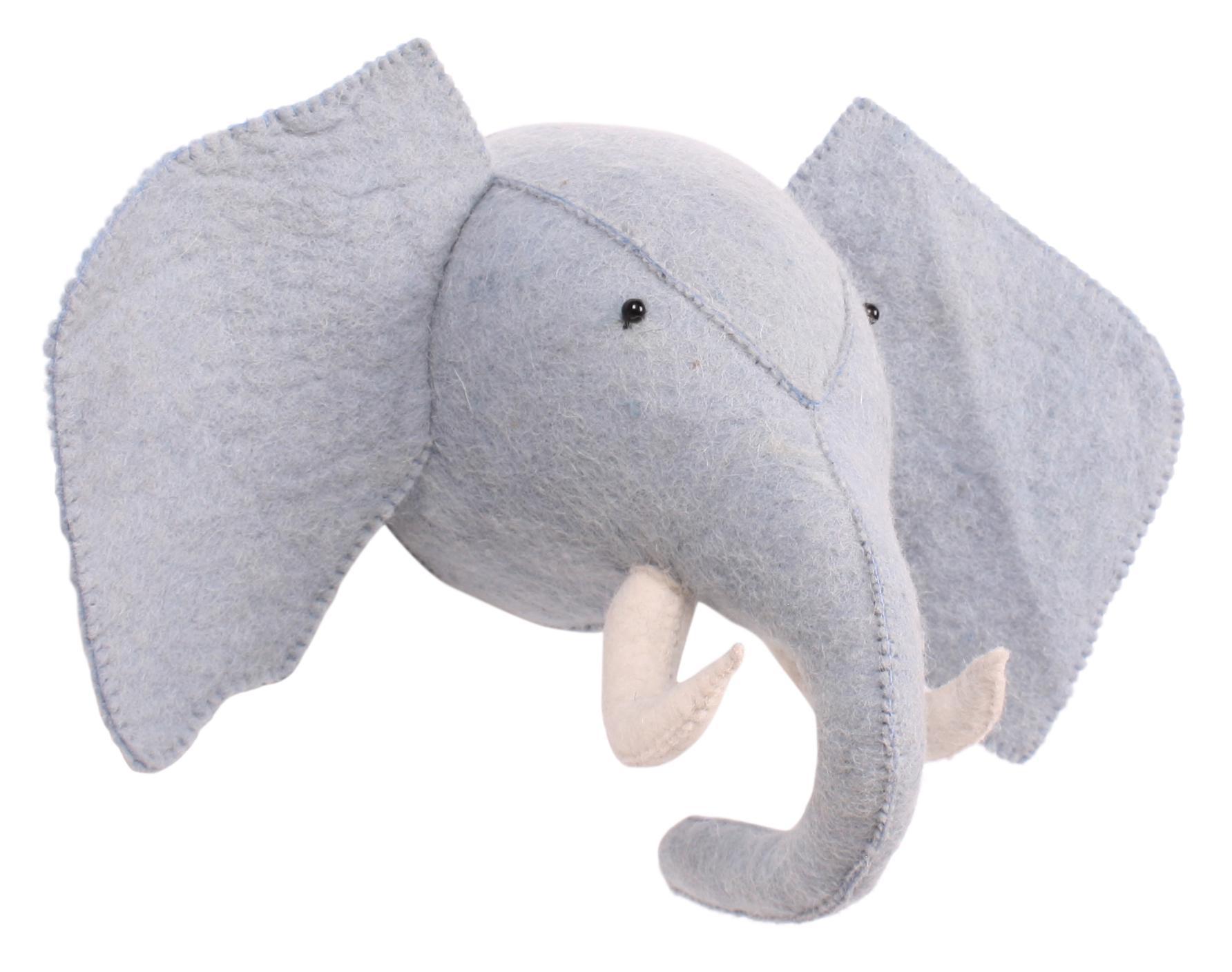 Kidsdepot filz wand dekoration elefant blau for Filz dekoration