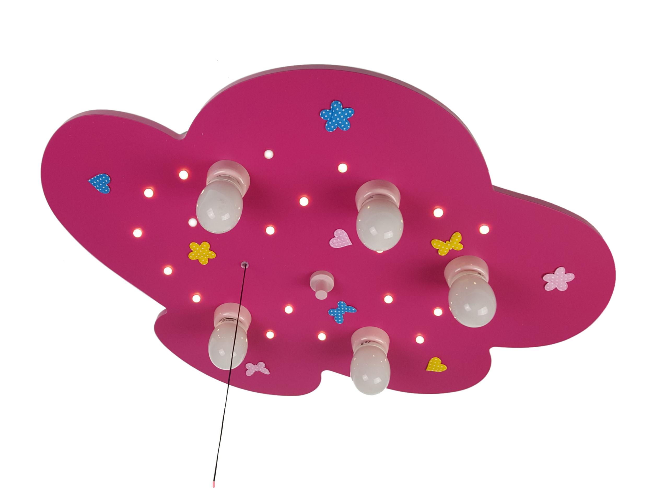 niermann deckenlampe wolke mit blumenwiese magenta led kinderlampen im kinderlampenland. Black Bedroom Furniture Sets. Home Design Ideas