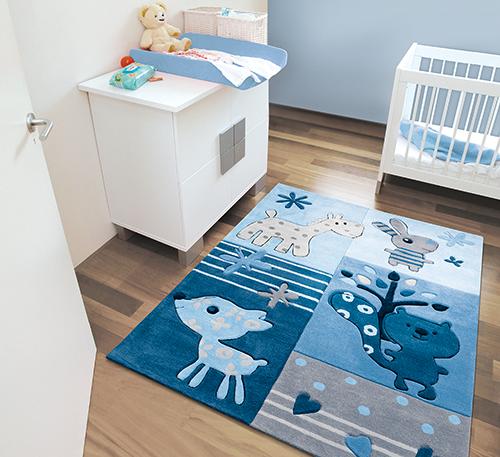 Arte Espina Teppich Tiere blau  Kids im Kinderlampenland