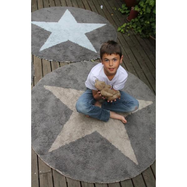 Kinderteppich sterne rund  Lorena Canals Kinderteppich Stern rund beige | waschbare ...