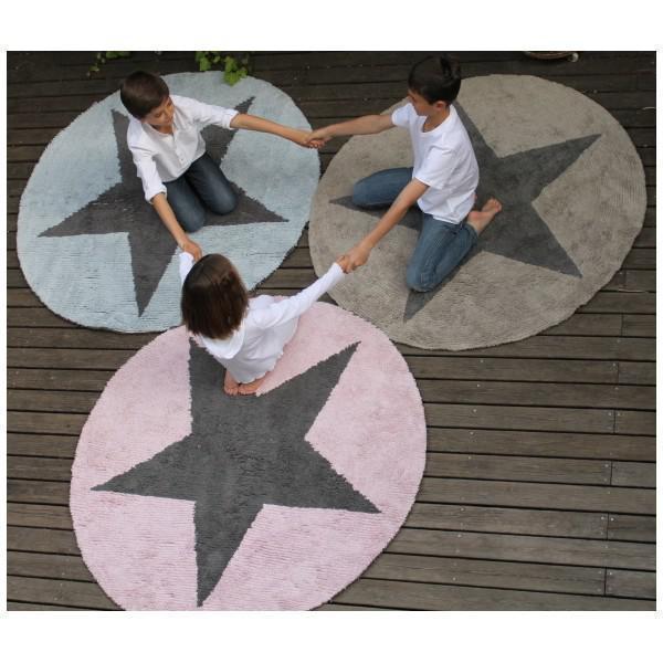Kinderteppich blau stern  Lorena Canals Kinderteppich Stern rund rosa/grau | waschbare ...