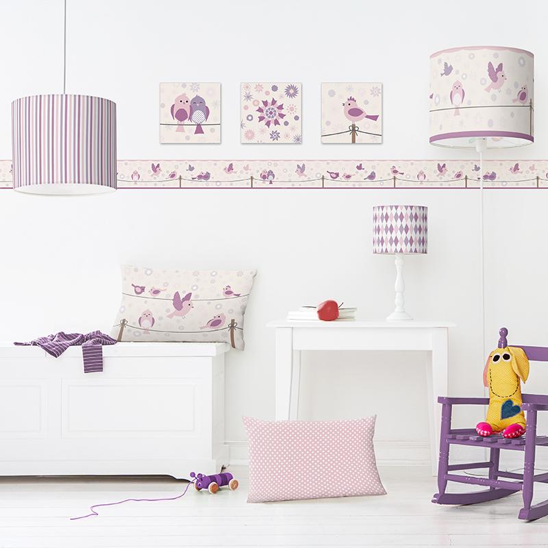 wandbilder set birds and flowers wandsticker fensterbilder im kinderlampenland. Black Bedroom Furniture Sets. Home Design Ideas
